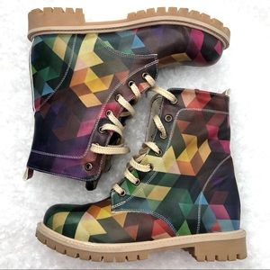 Goby Multi Color Rainbow Prism Combat Boots